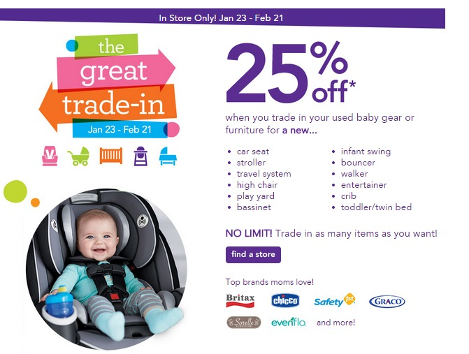 Babies R Us And Toys Stores Will Have Their Annual Trade In Event From January 23rd Through February 21st Exchange For Your Item You Get A 25 Off