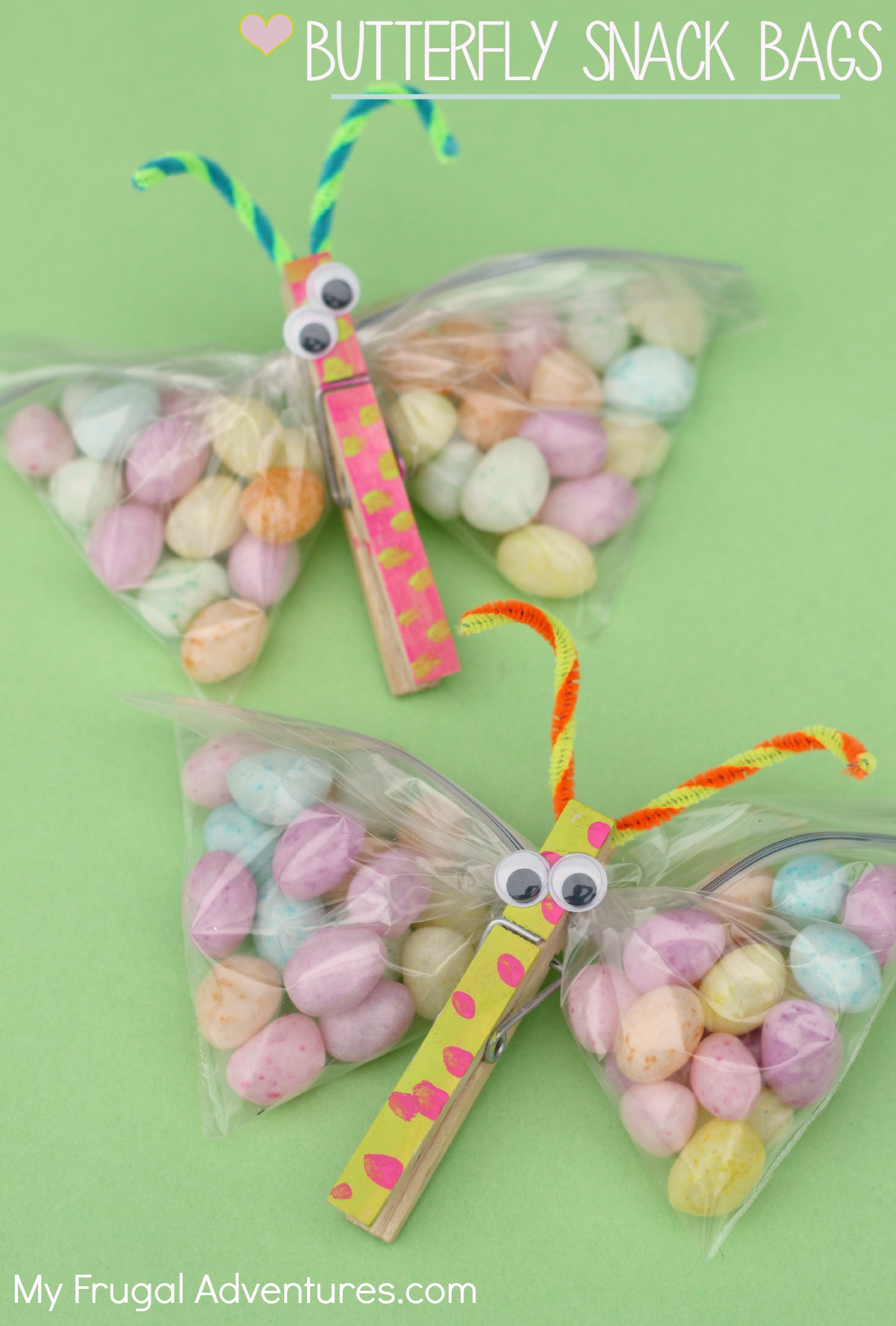 Butterfly craft snack bags my frugal adventures negle Choice Image