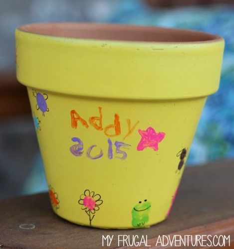 Children's Fingerprint Painted Pots