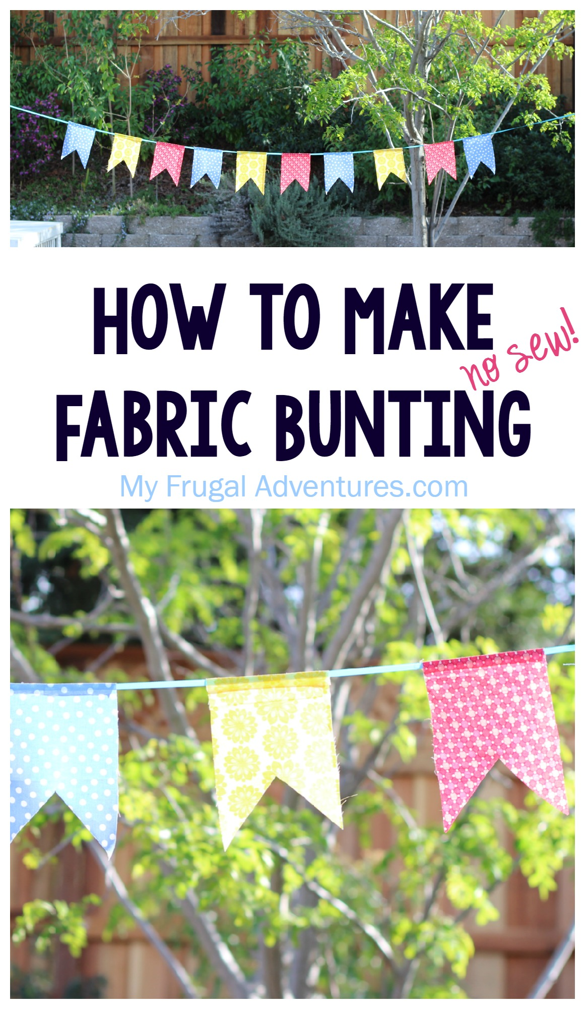 how to make fabric bunting no sew my frugal adventures. Black Bedroom Furniture Sets. Home Design Ideas