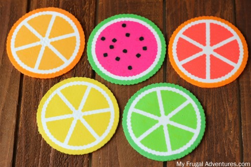 so for our coasters we did lime lemon orange grapefruit and