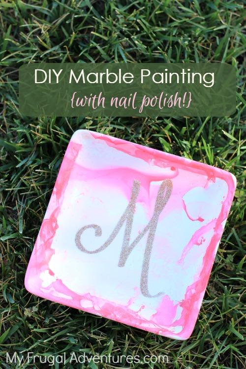 DIY marble painting with nail polish