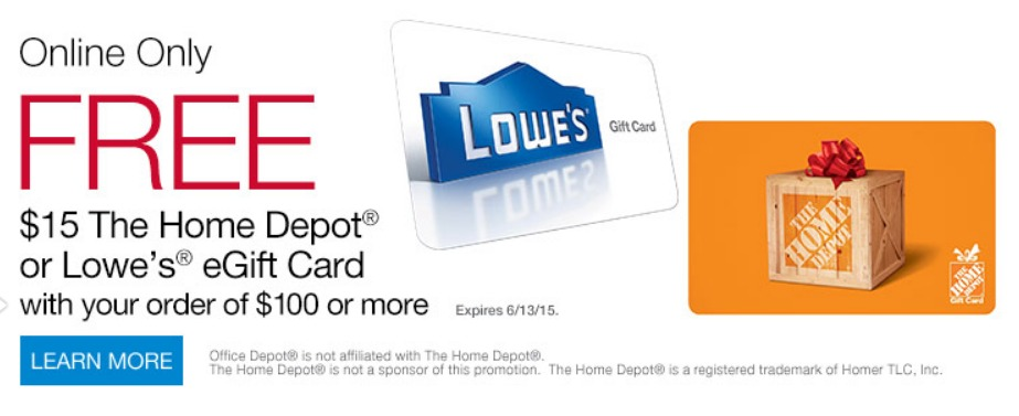 Office Max/Office Depot: Free $15 Lowe's or Home Depot Gift Card ...