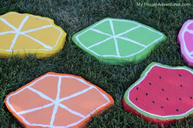 citrus painted stepping stones