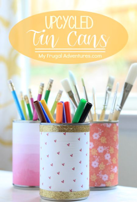 Upcycled Paper Covered Tin Cans