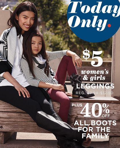ef77ea35a4f Old Navy   5 Leggings + 40% off Boots for the Family  9 23 Only ...
