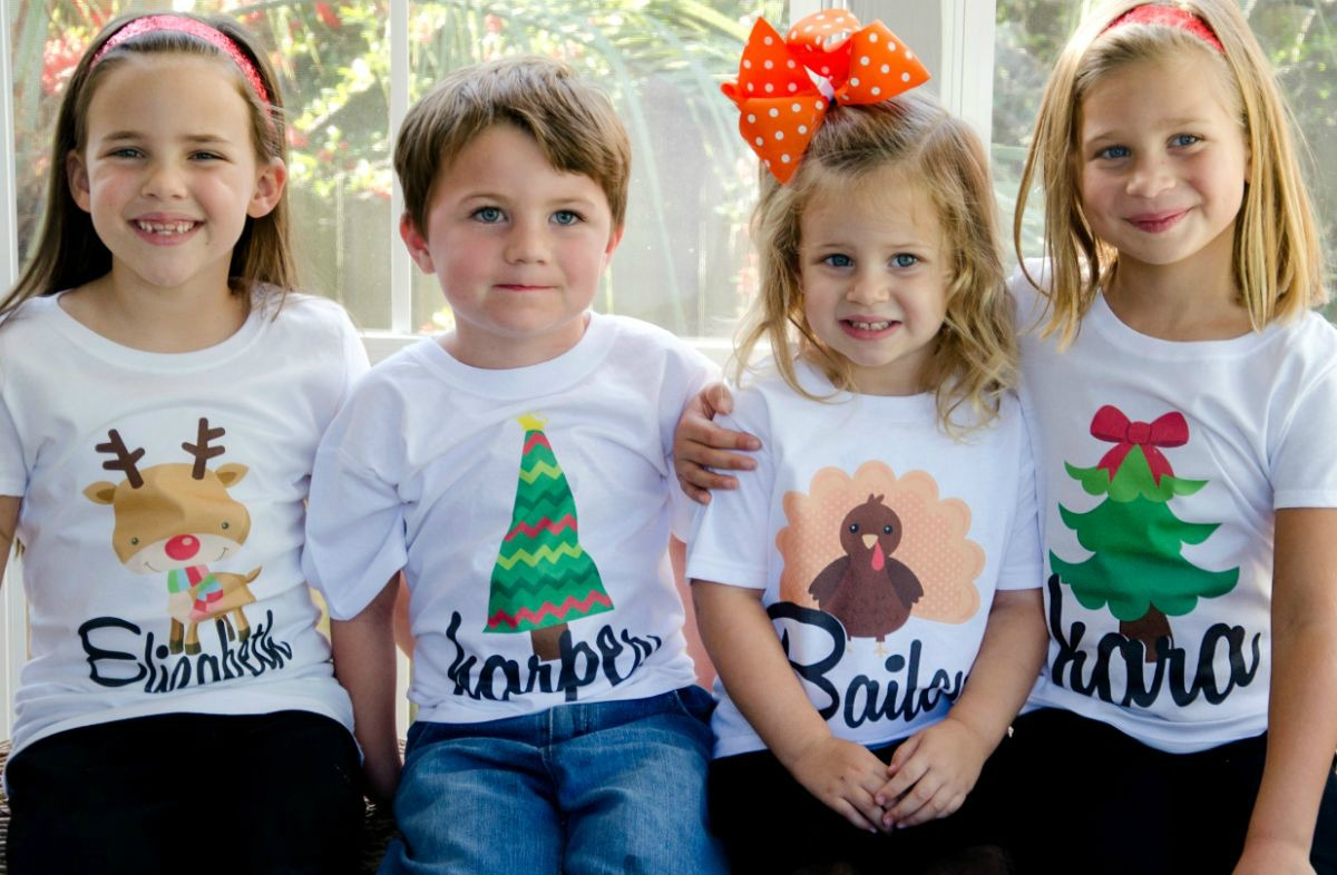 82d62492 These cute personalized shirts are $10.95 today. You can choose from 16  different designs for boys and girls. I saw Thanksgiving and Christmas  designs.