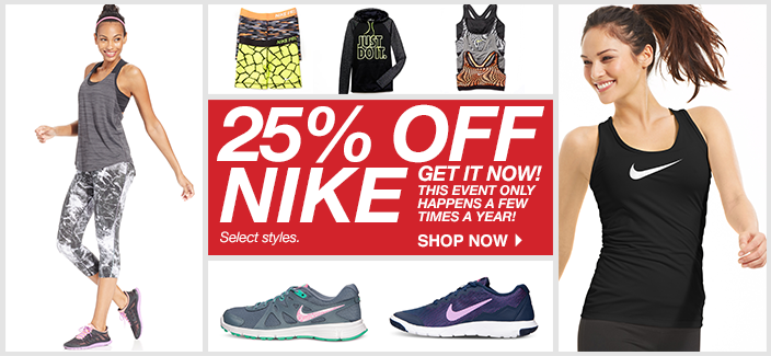 85fa846cb8f Macy s is having a nice sale on Nike apparel and shoes for the family.  Select items are 25% off! You will need to add the item to your cart to see  the ...