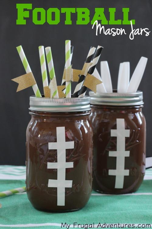 Football Mason Jars- perfect Superbowl or Football Party Decor