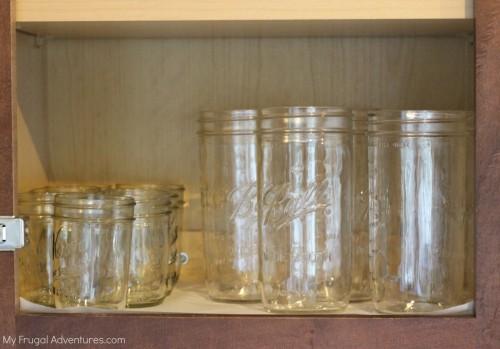 Organized mason jars