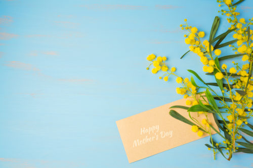Happy Mother's day background with flowers and greeting card