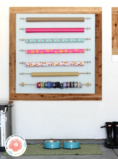 organized wrapping paper station