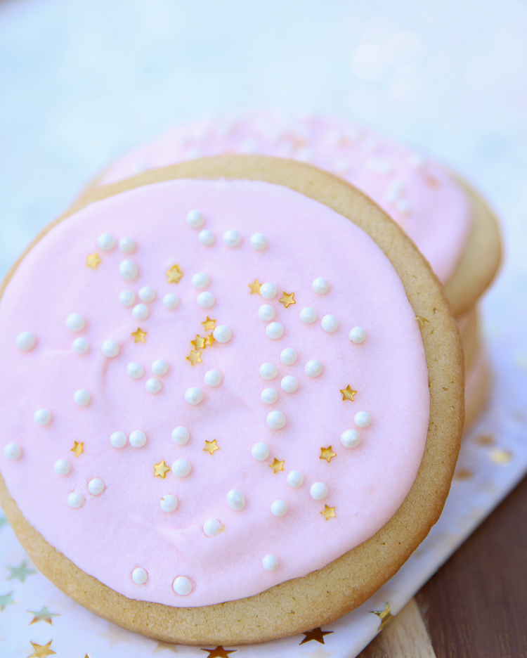 Champagne Buttercream Cookies on myfrugaladventures.com.  Creamy and delightful recipe perfect for any celebration.