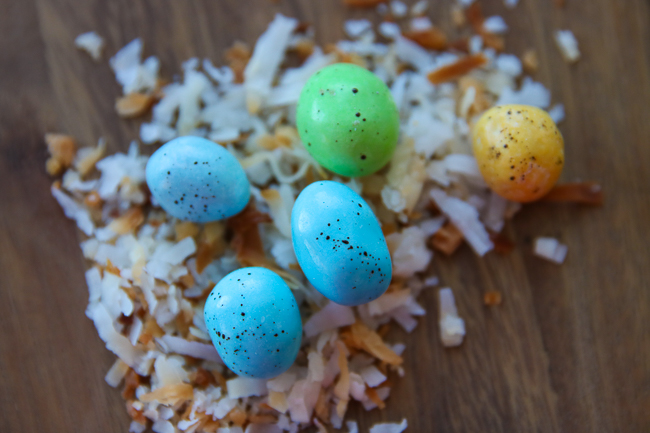 M&Ms candy with food coloring to look like eggs.
