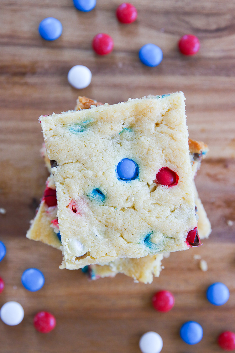 Patriotic Cookie Bars from MyFrugalAdventures.com.  Simple red, white and blue dessert perfect for Memorial Day or the 4th of July.