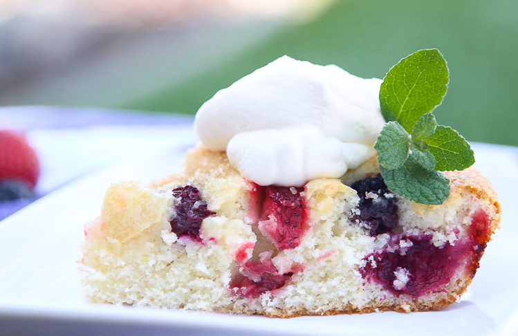 Summer Berry Cake on myfrugaladventures.com. Delicious, light and simple dessert that is perfect for summer.